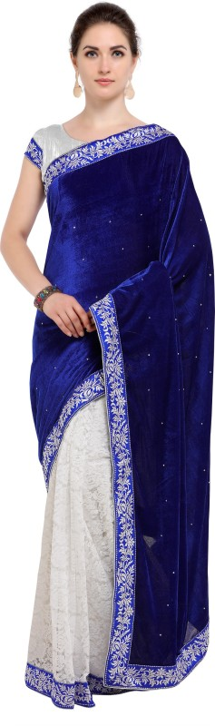 SNH Export Solid Bollywood Velvet Saree(Blue)