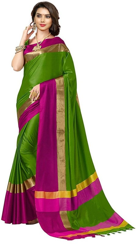 V J Fashion Solid Fashion Art Silk Saree(Multicolor)