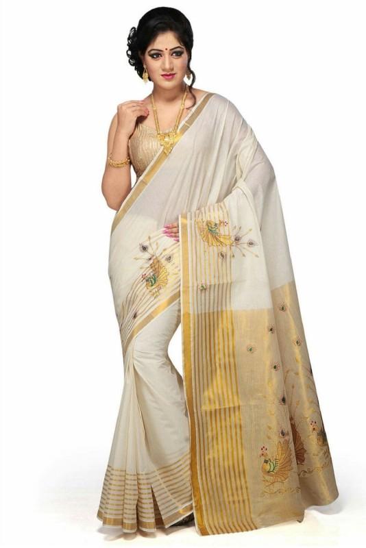 RSV FABRICS Embroidered, Striped Kasavu Tissue Silk Saree(White)