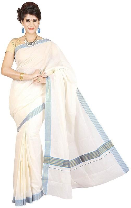 RSV FABRICS Solid, Striped Kasavu Cotton Saree(White)