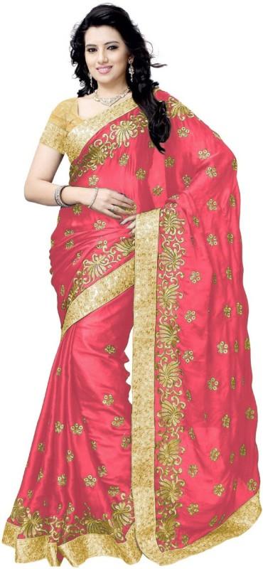 Active Embroidered Bollywood Satin Saree(Pink)