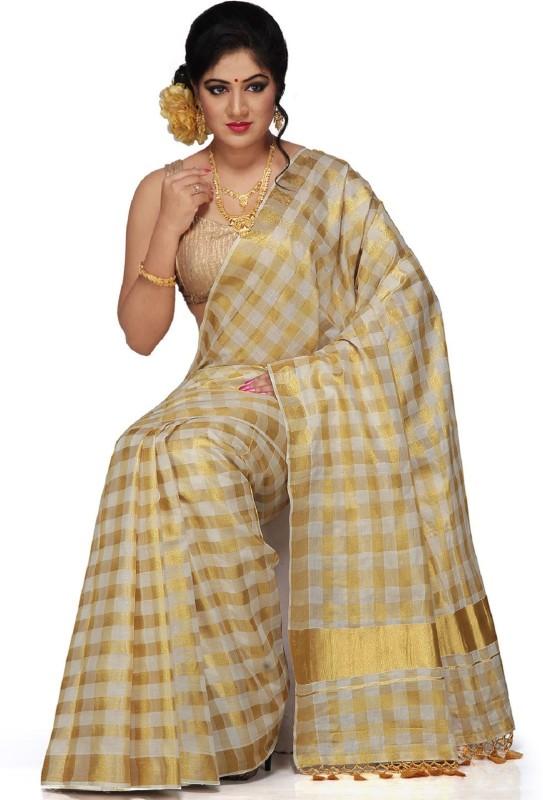 Selvamani Tex Checkered Kasavu Cotton Saree(Gold)