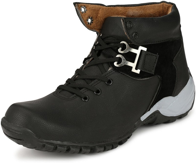 Deals4you Men's Synthetic Leather Black Shoes Boots, Casuals(Black)