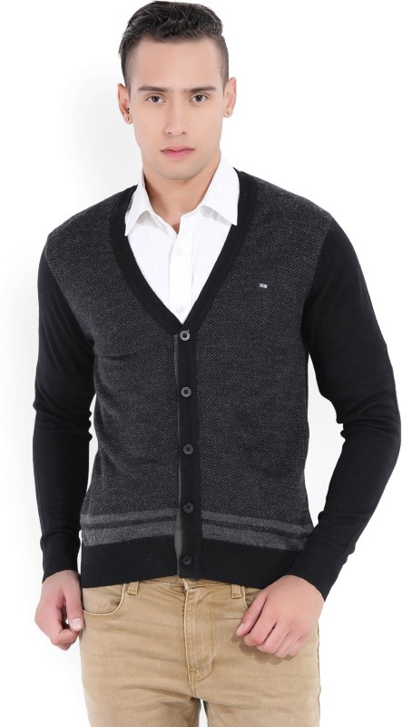 Arrow Sport Self Design V-neck Casual Mens Black, Grey Sweater
