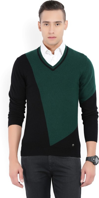 Arrow New York Solid V-neck Casual Mens Black, Green Sweater