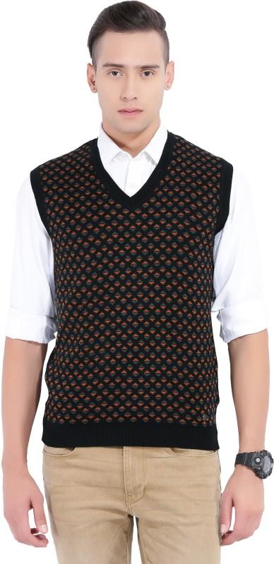 Arrow New York Self Design V-neck Casual Mens Black, Orange Sweater