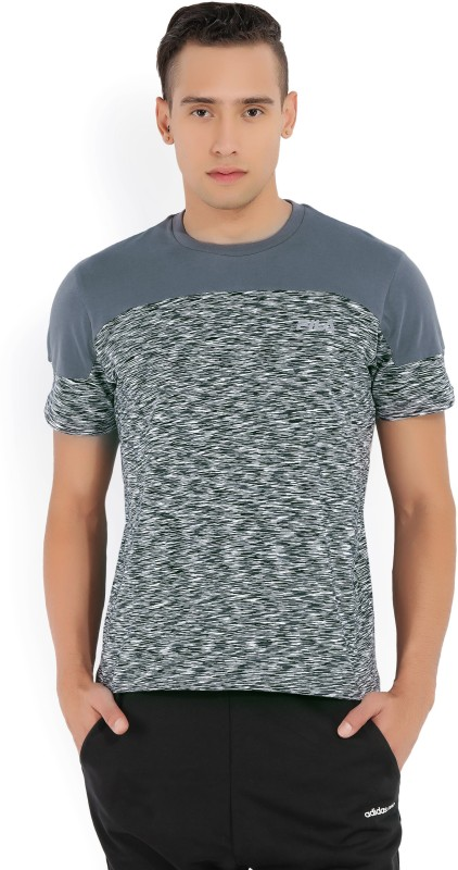Fila Printed Mens Round Neck Black, White, Grey T-Shirt