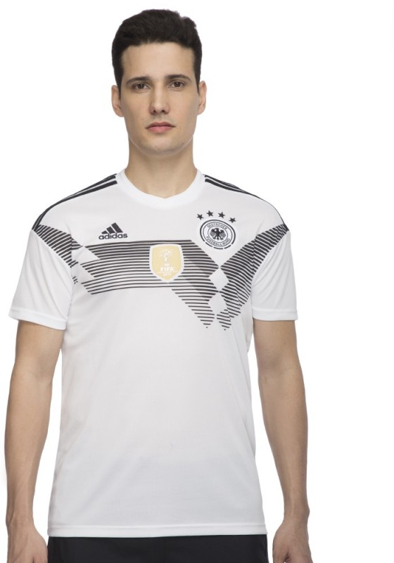 ADIDAS Germany Solid Men Round Neck White T-Shirt