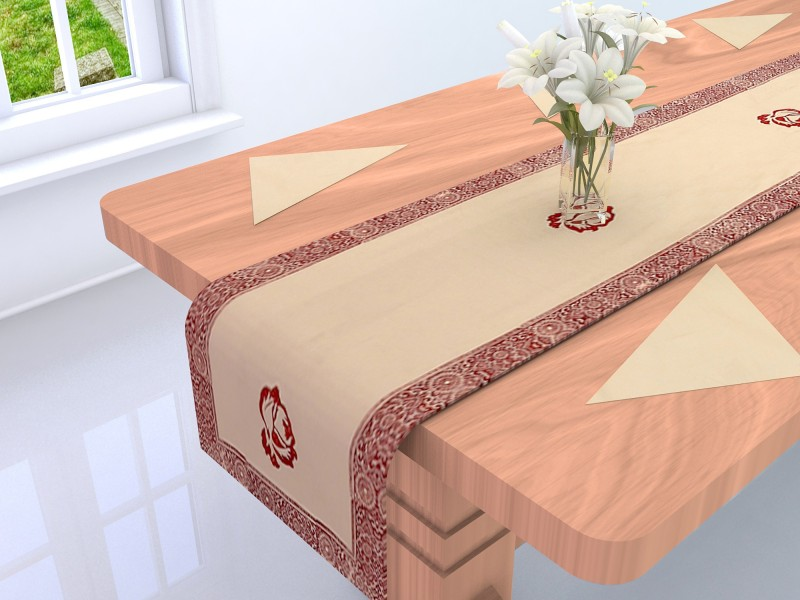 Linenwalas Red 210 cm Table Runner(Cotton)