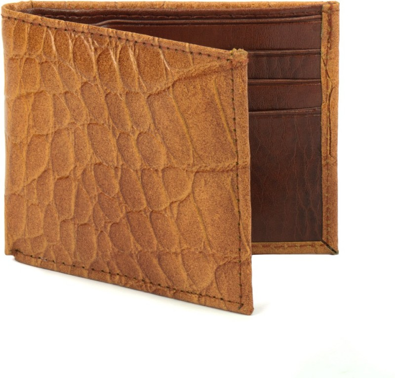 Holboro Men Tan Genuine Leather Wallet(6 Card Slots)