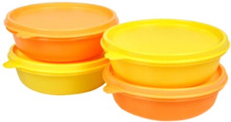 Tupperware Airtight Container for Quick Lunch / Snacks / Masala items etc.. storage Containers [ pack of 4 pcs ] - 300 ml Polypropylene Grocery Container(Pack of 4, Orange, Yellow)