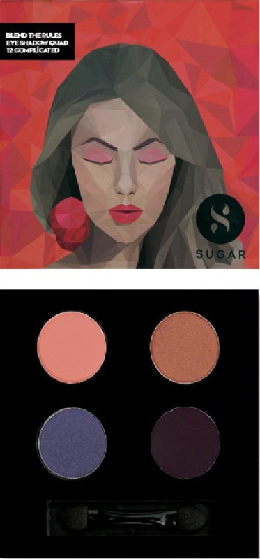 Sugar Blend The Rules Eyeshadow Quad 12 Complicated 5 g(light coral, copper, blackened purple and metallic purple)