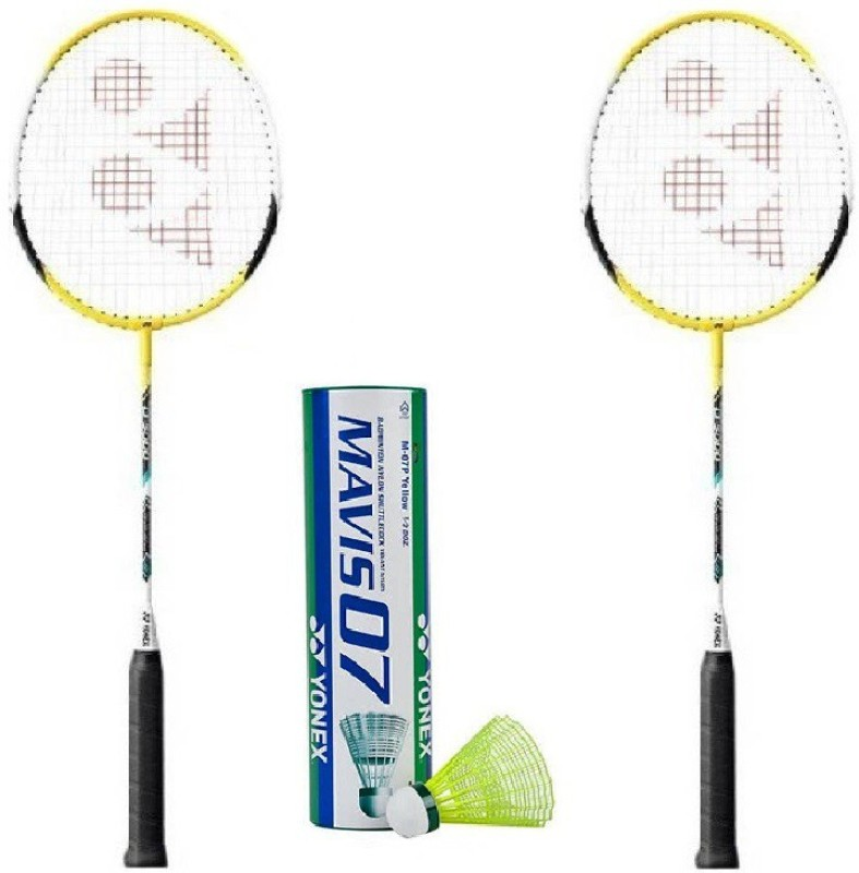 Yonex Combo of Three, Two B-5000i Badminton Racquet and One Box Mavis 07 Shuttle cock (Pack of 6) (Color On Availability)- Badminton Kit