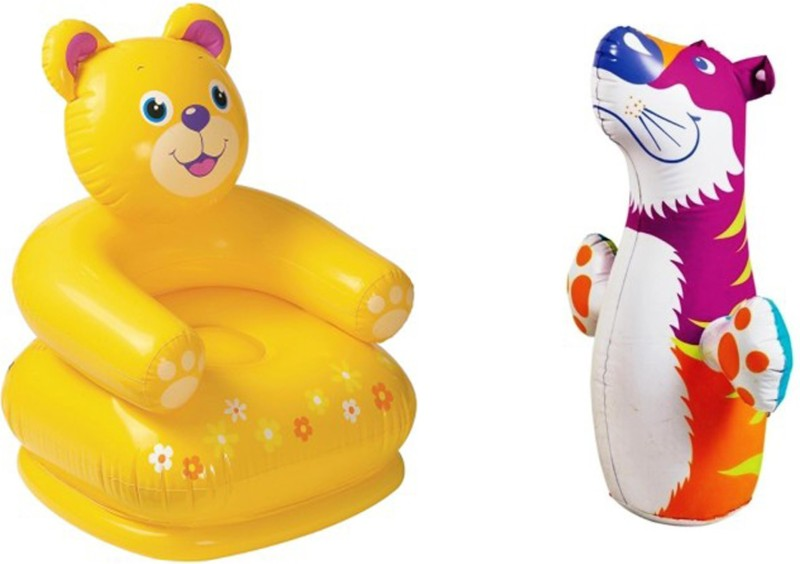 KT BROTHERS 3-D Punching Bop Bag Tiger Shape Bouncers & Teddy Bear Chair Inflatable Combo Bath Toy(Multicolor)