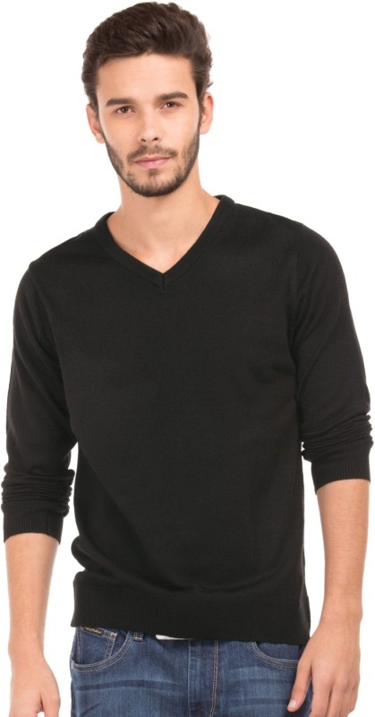 Flying Machine Solid V-neck Casual Men Black Sweater