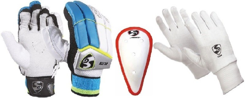 SG Combo of Three, One Pair Elite (Lightweight) Batting Gloves - Youth (Right Handed) , one Litevate Abdominal Guard And One Pair Club Inner Gloves (Color On Availability)- Cricket Kit