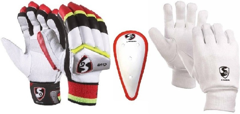 SG Combo of two, one pair of Club (Traditional) Batting Gloves (Youth) (Right Handed), one Litevate Abdominal Guard and one pair of League Inner Gloves (Color On Availability) Cricket Kit