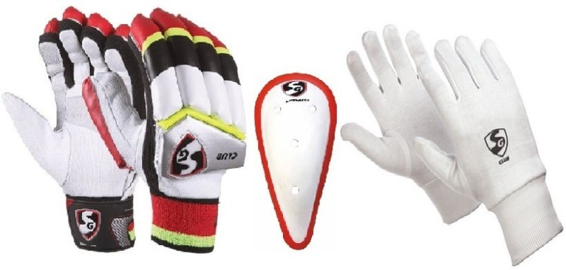 SG Combo of two, one pair of Club (Traditional) Batting Gloves- Youth (Right Handed), one Litevate Abdominal Guard and one pair of Club Inner Gloves (Color On Availability) Cricket Kit