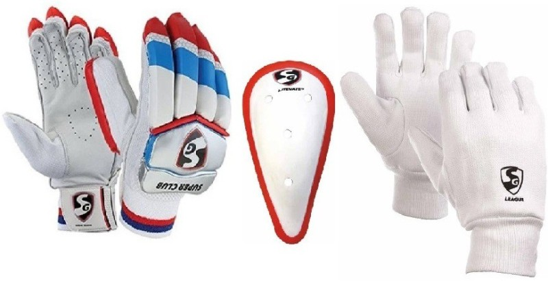 SG combo Of three ,one Pair of Super Club (Traditional) batting Gloves - Youth (Right Handed), one Litevate Abdominal Guard and one Pair of League Inner Gloves (Color On Availability)- Cricket Kit