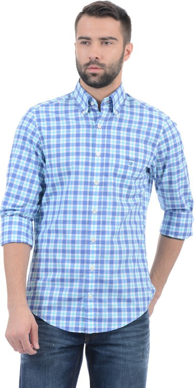 Gant Men Checkered Casual Blue Shirt