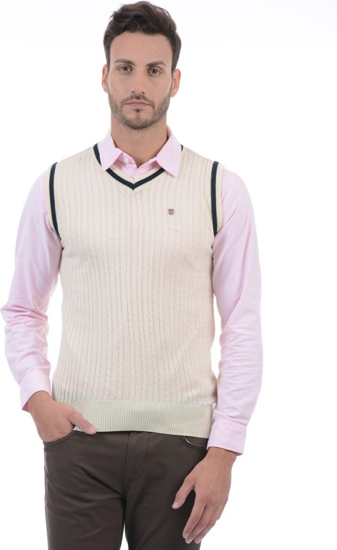 Pepe Jeans Solid V-neck Casual Men Beige Sweater