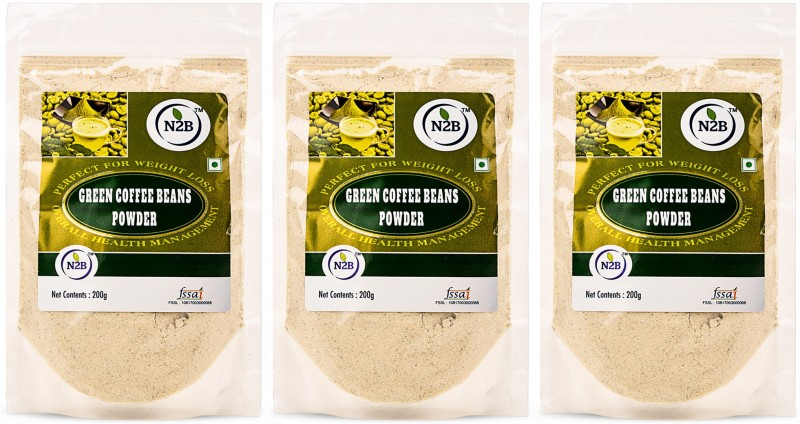 N2B 200g Pack of 3 100% Natural And Unroasted Green Coffee Beans Powder Instant Coffee(3 x 66.67 g, Green Coffee Flavoured)