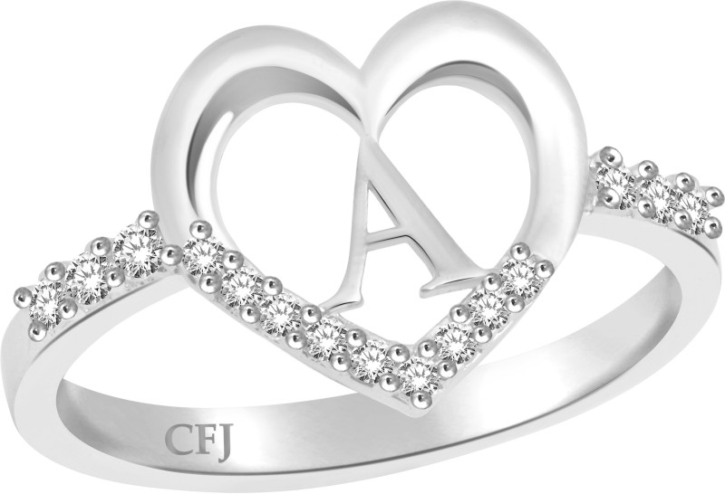 Classic Awesome 'A' for Women [CJ1220FRR13] Alloy Cubic Zirconia 18K White Gold Plated Ring