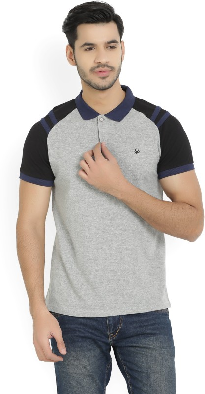 United Colors of Benetton Solid Mens Polo Neck Black, Grey T-Shirt