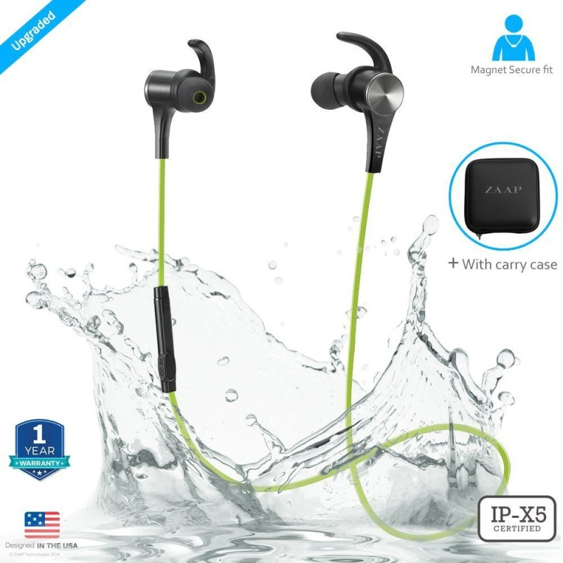 Zaap AQUA MAGNETO Bluetooth Headset with Mic(Green, In the Ear)