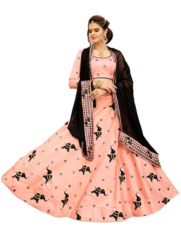 KMOZI Embroidered Semi Stitched Lehenga, Choli and Dupatta Set(Pink)
