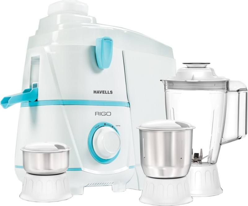 Havells Rigo 500 W Juicer Mixer Grinder(White, Blue, 3 Jars)