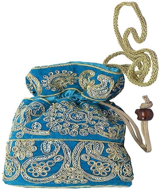 Purpledip Silk Potli Satchel Purse Drawstring Clutch Bag (10972) Potli(Blue)