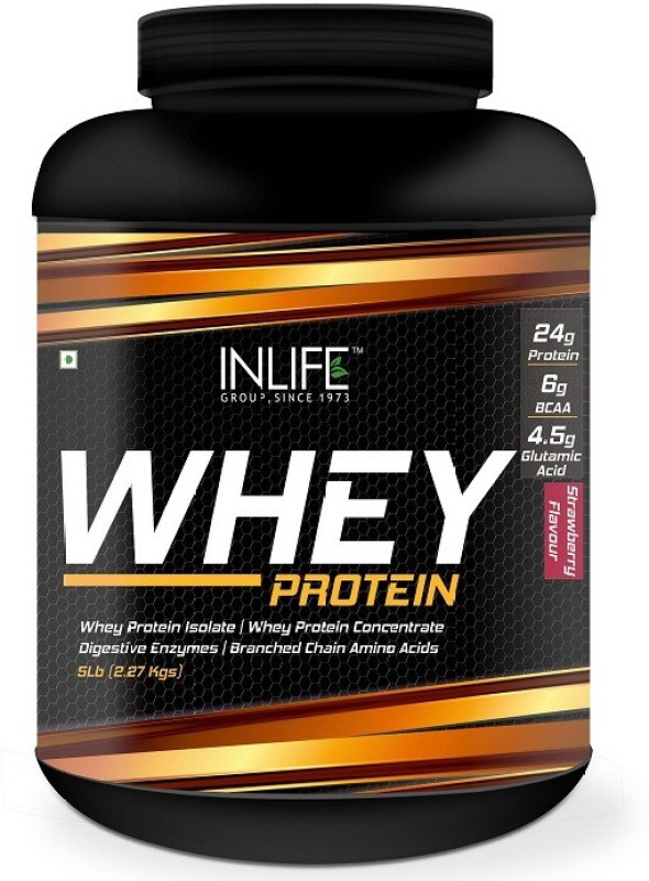 Inlife 5Lb Whey Protein(2.27 kg, Strawberry)