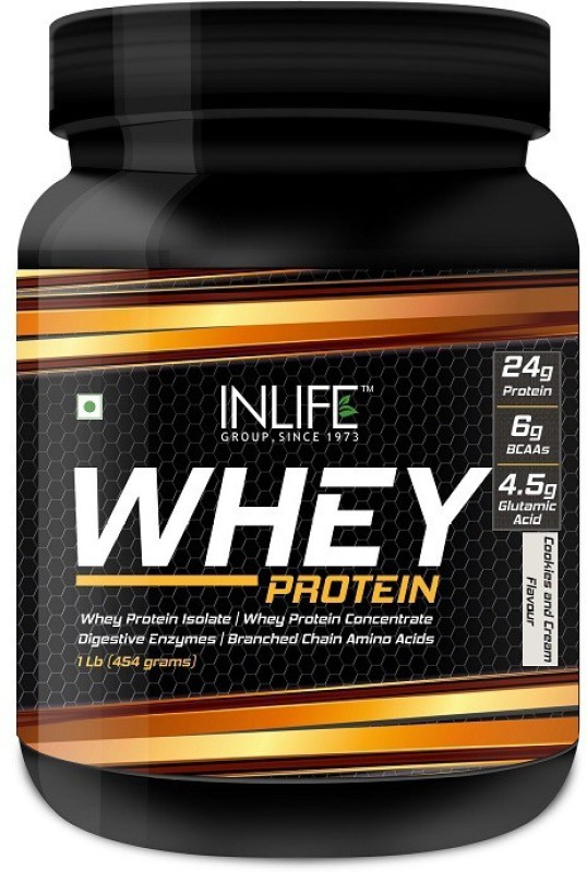 Inlife 1Lb Whey Protein(454 g, Cookies)
