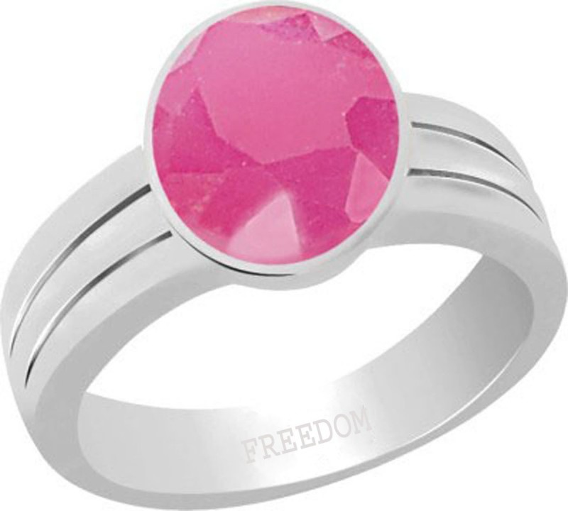 Freedom Natural Certified Ruby (Manik) Gemstone 10.25 Ratti or 9.32 Carat for Male & Female Sterling Silver Ring