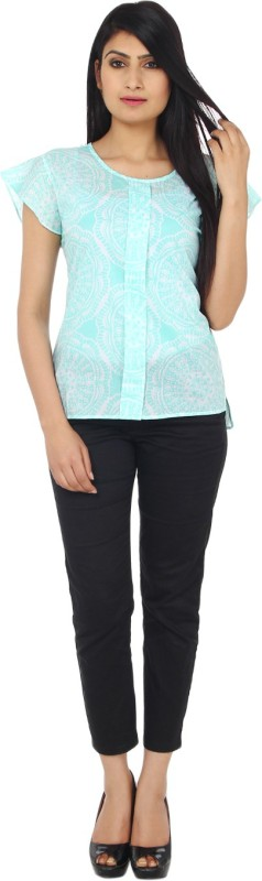 Rabini Casual Short Sleeve Printed Women's Blue Top