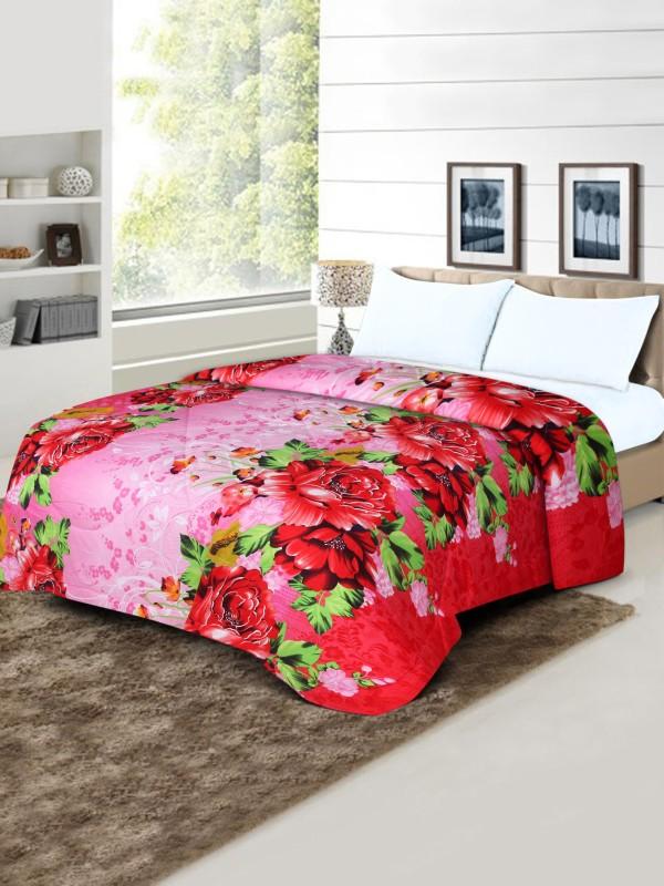 Flipkart SmartBuy Floral Double Quilt, Comforter Pink(1 Double quilt)