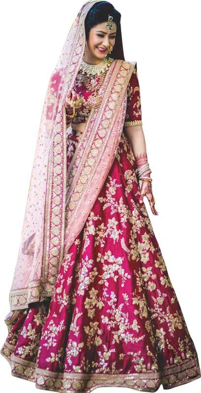 Fabron Embroidered Lehenga Choli(Pink)