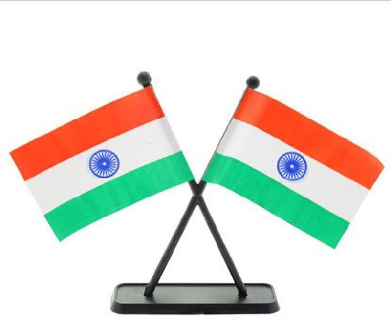 Unique Indian Rectangle Car Dashboard Flag Flag(Plastic)
