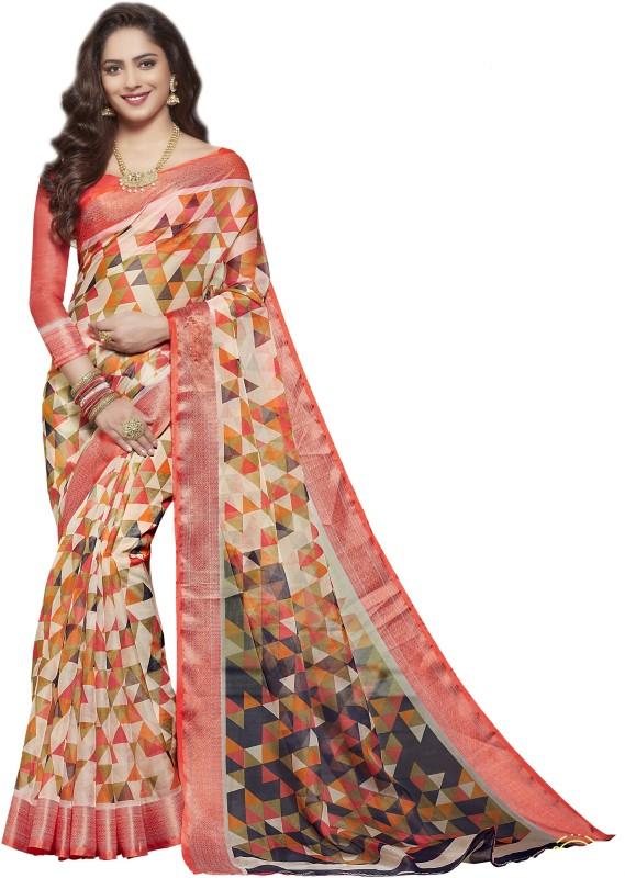 KJS Self Design Bollywood Organza Saree(Multicolor)