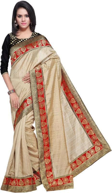 Sarvagny Clothing Self Design Bollywood Banarasi Silk Saree(Beige)