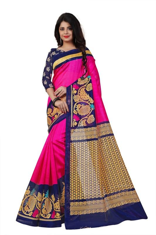 Jhilmil Fashion Printed Fashion Art Silk Saree(Pink)