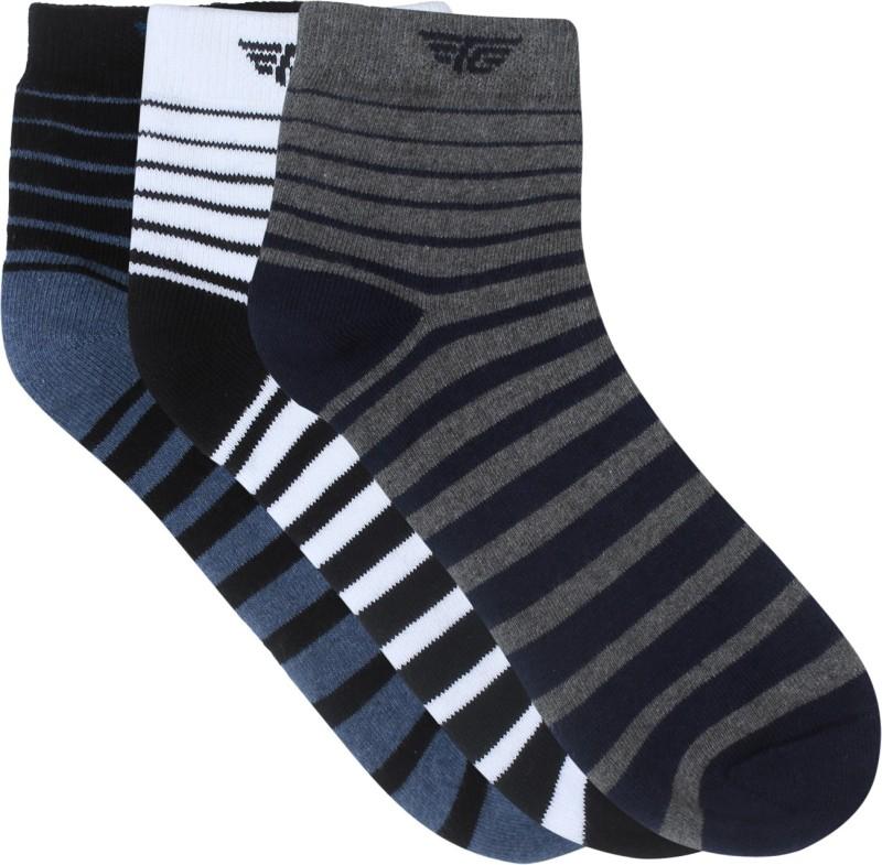 Red Tape Mens Striped Ankle Length Socks(Pack of 3)