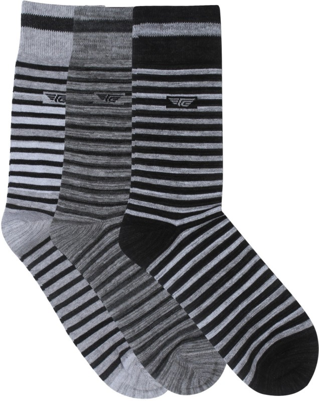 Red Tape Mens Striped Crew Length Socks(Pack of 3)