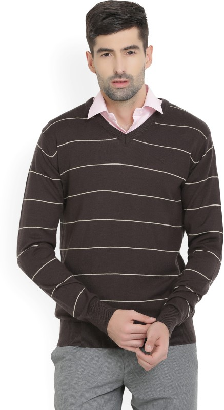 Allen Solly Striped V-neck Casual Mens Brown Sweater