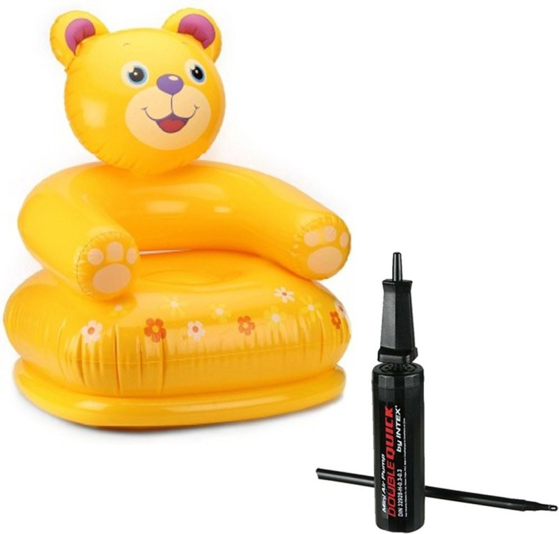 Intex ® Original Inflatable Kids Happy Animal Teddy Air Chair with Hand Air Pump Inflatable Sofa/ Chair(Yellow)