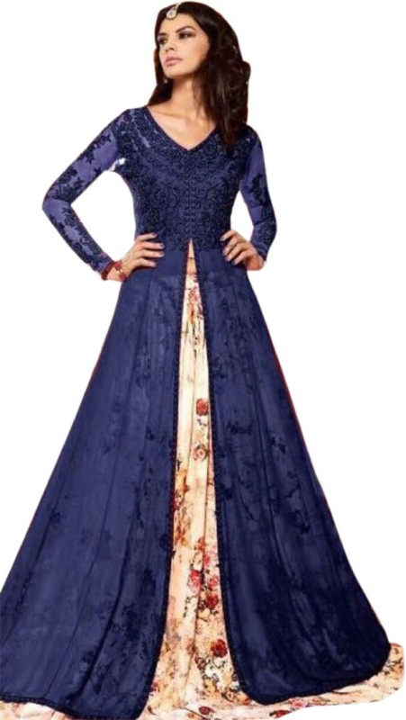 Active Embroidered Semi Stitched Lehenga Choli(Blue)