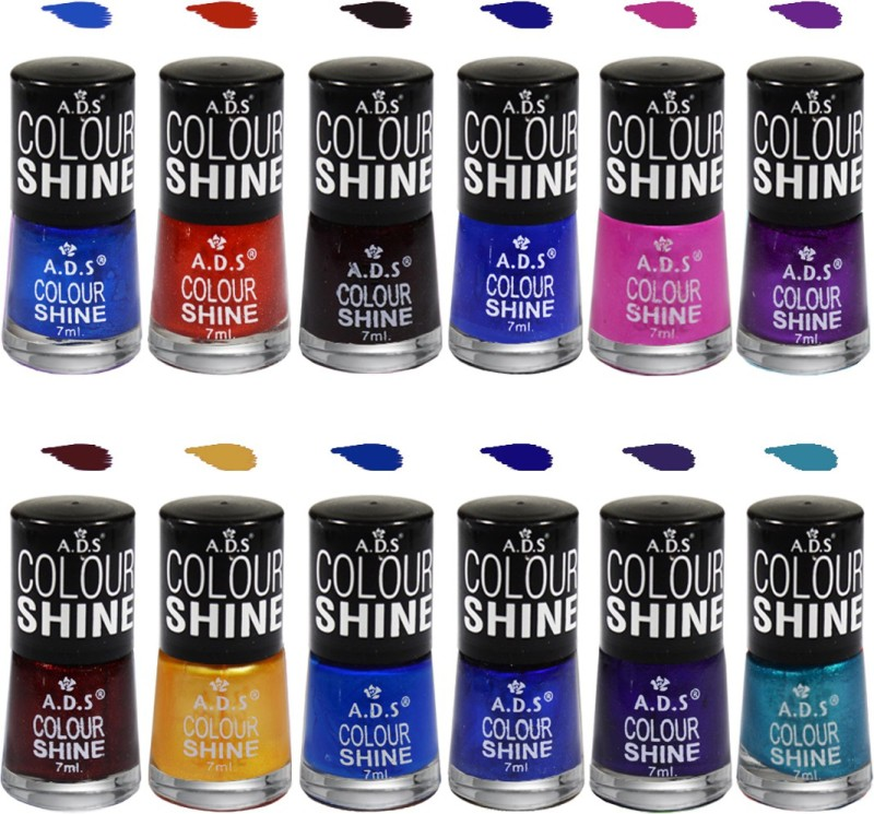 ADS Colour Shine Nail Paint B2 Shade Multicolor(7 ml, Pack of 12)