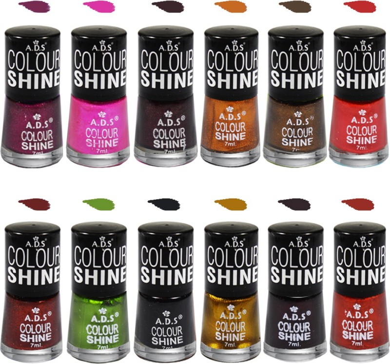 ADS Colour Shine Nail Paint B1 Shade Multicolor(7 ml, Pack of 12)