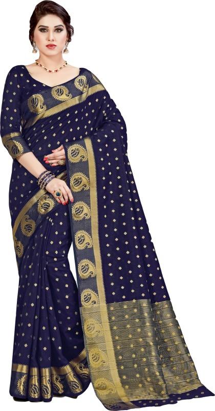 M.S.Retail Self Design Kanjivaram Silk Saree(Dark Blue)